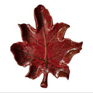 Vintage Maple Leaf Ceramic Tray Pottery Art Dish